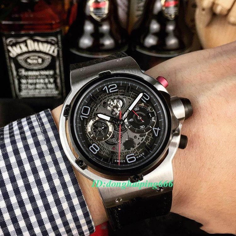 Hohe Version 526.NX.0124.VR Skeleton Datum Dial Silber Stahl Fall Japan VK Quartz Chronograph Herrenuhr Lederband Sport Luxry Uhren