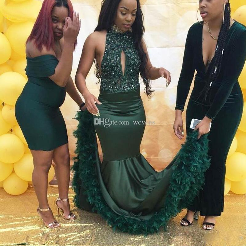 Fantastic Dark Green Mermaid Father Prom Dresses High Neck Keyhole Bead Sequin Africa Dress Satin Sweep Train Celebrity Gowns