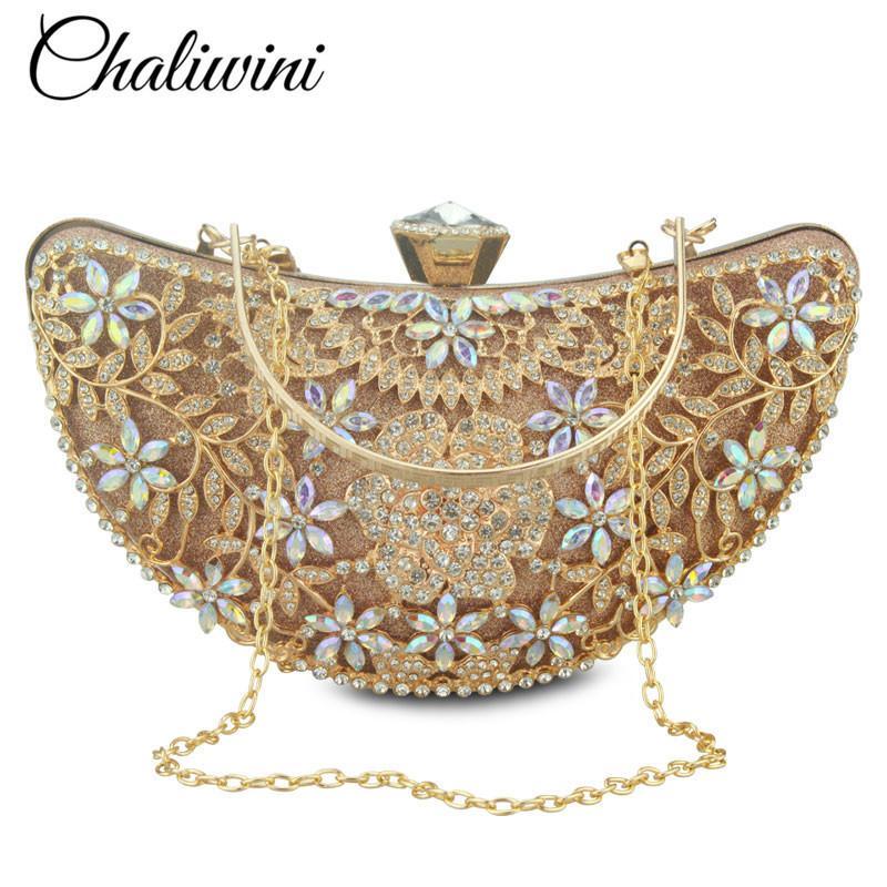 Bridal Metal Clutch Floral Bag Women Crystal Gold Evening Bag Wedding Party Handbags Purse Lady Diamond Rhinestone Clutches Y19051702