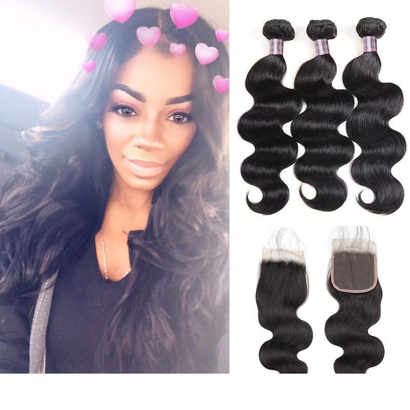 30 Inch Bundles Human Hair Bundles With Closure Brazilian Hair Body Wave With 4x4 Lace Closure Cheap Good Quality Human Hair Weave Cheap Brazilian Hair Weave Remy Hair Weave For Cheap From