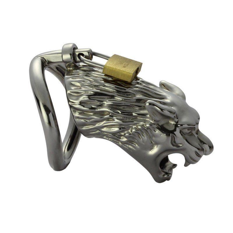 Tiger head modeling Male Chastity Devices Cinturón de jaula de acero inoxidable Cock Lock # R45