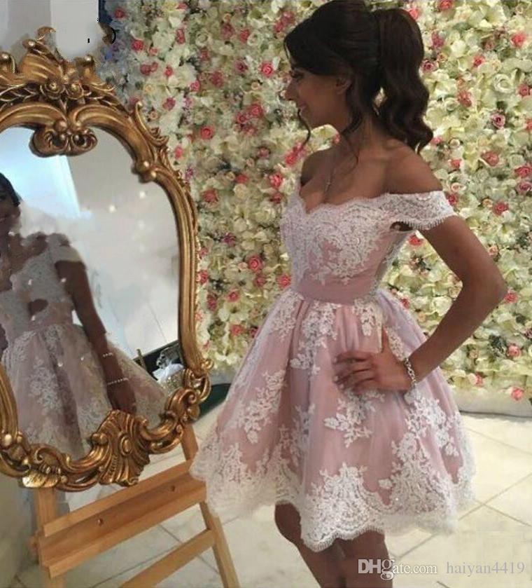 2020 neue sexy kurze mini balkleid homecoming kleider kappenhülsen erröten rosa weiße spitze appliques party graduation plus größe cocktail kleider