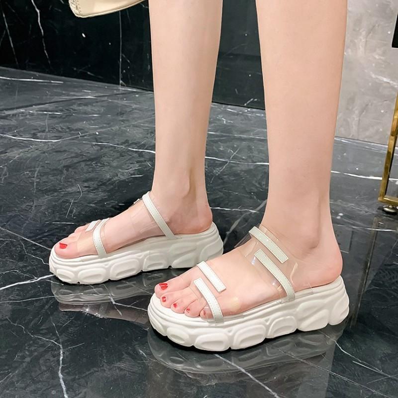 chinelos moda Women Wedge de primavera e verão novo estilo exterior Sandálias toe salto alto festa de mulheres mais 34-46