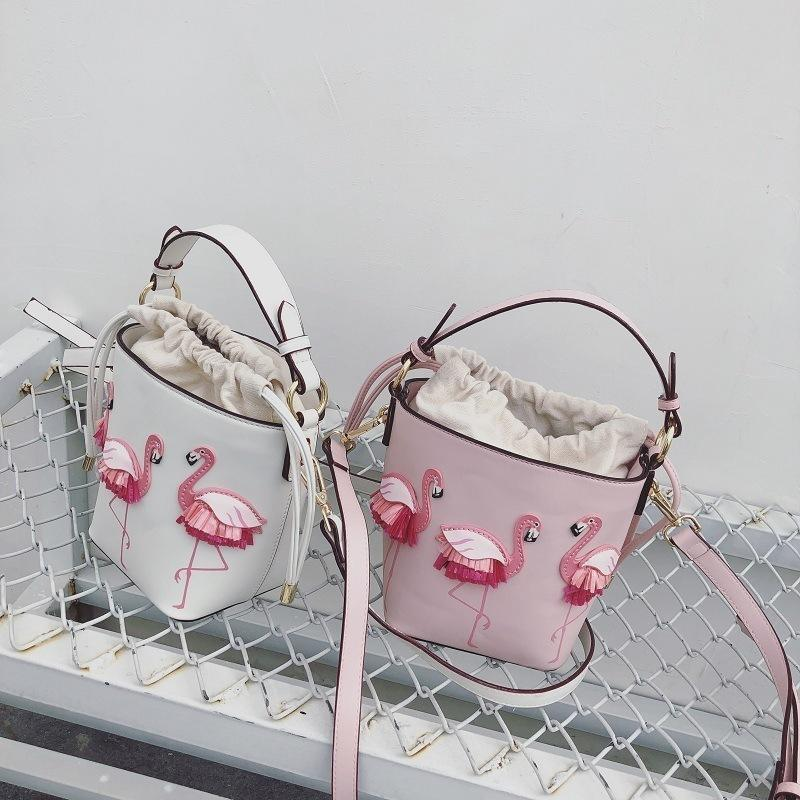 Superior2019 Single Niche Flamingo Shoulder Bucket Package Mini- Small Bag Bevel Span Packet Fairy Hand