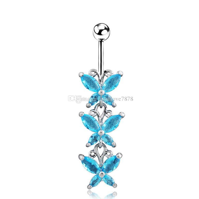 2019 316L Stainless Steel Crystal butterfly long Navel Bars Belly Button Ring Navel Piercing Jewelry