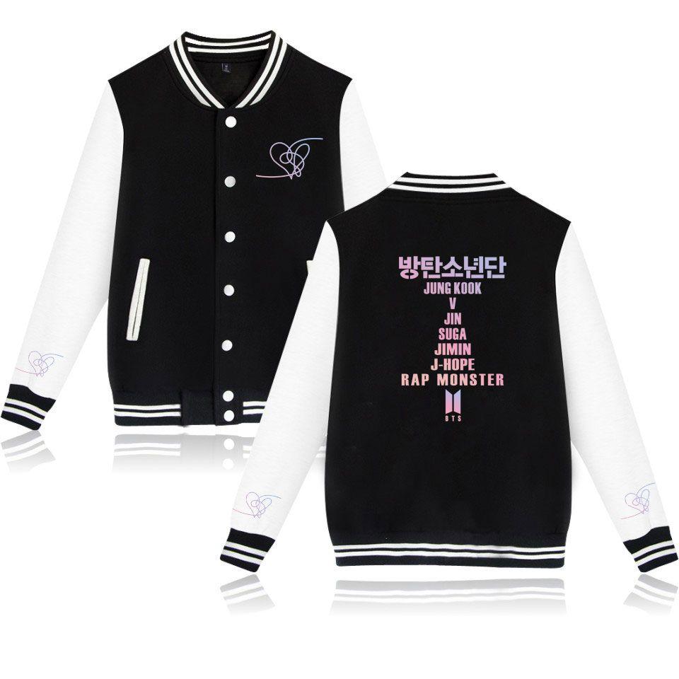 Kpop Casual Baseball uniform Women K- Female Love Yourself Fans Clothes Hip Hop hot sales Harajuku Clothes Baseball