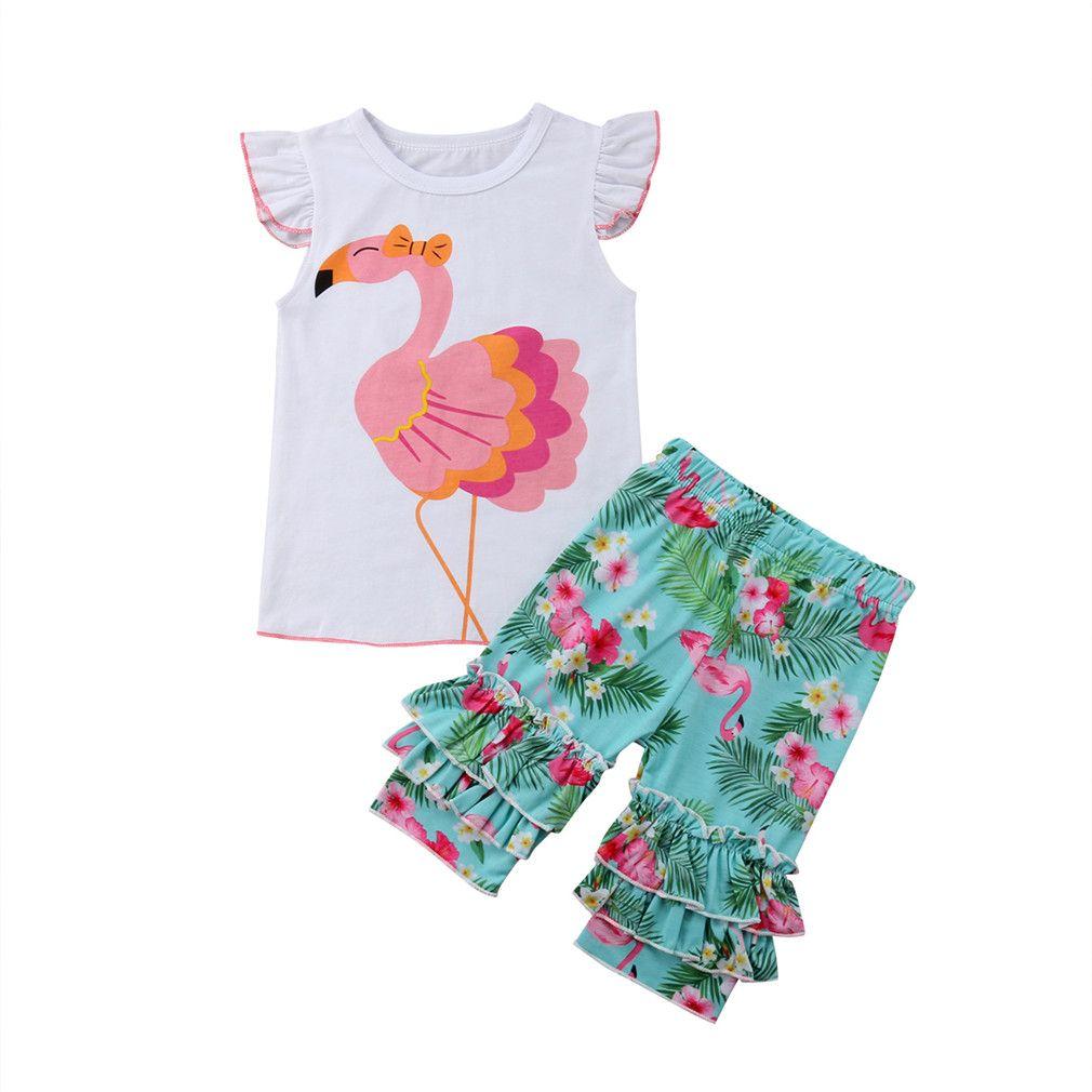 Ropa para niños juegos de verano para niña camiseta sin mangas con estampado de flamencos + short 2 pcs set ropa para niña