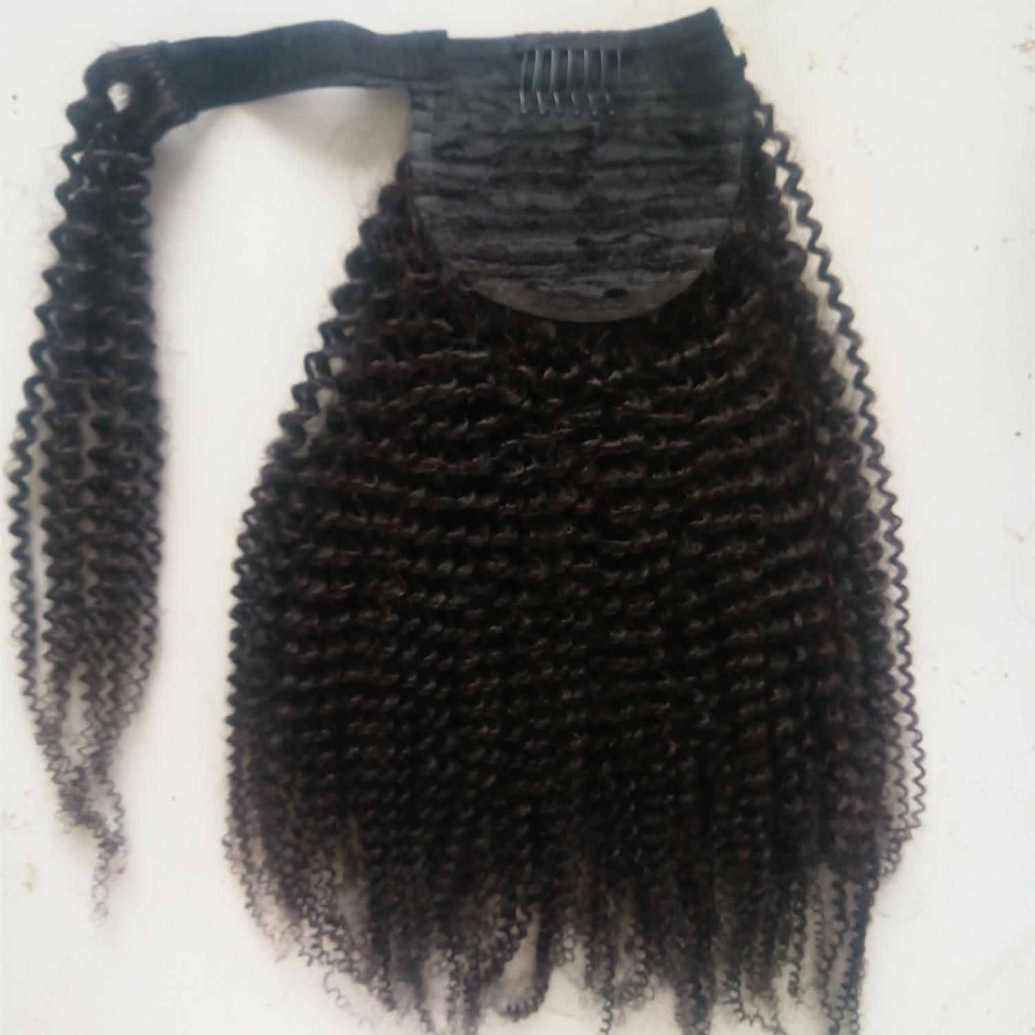 Diva 24 pollici umani Coda di cavallo di capelli con coulisse fuori dal nero AfroKinky Capelli ricci coda di cavallo avvolgere di estensione per le donne 160g per pacchetto Colore 1B