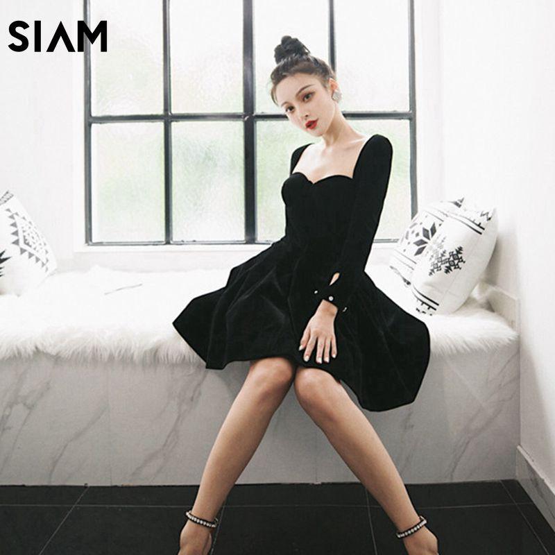 SIAM Women 2019 Black High Quality Designer Dress Mini Dress Female Velvet Full Sleeve Mini Dresses Ladies Runway With Crystal