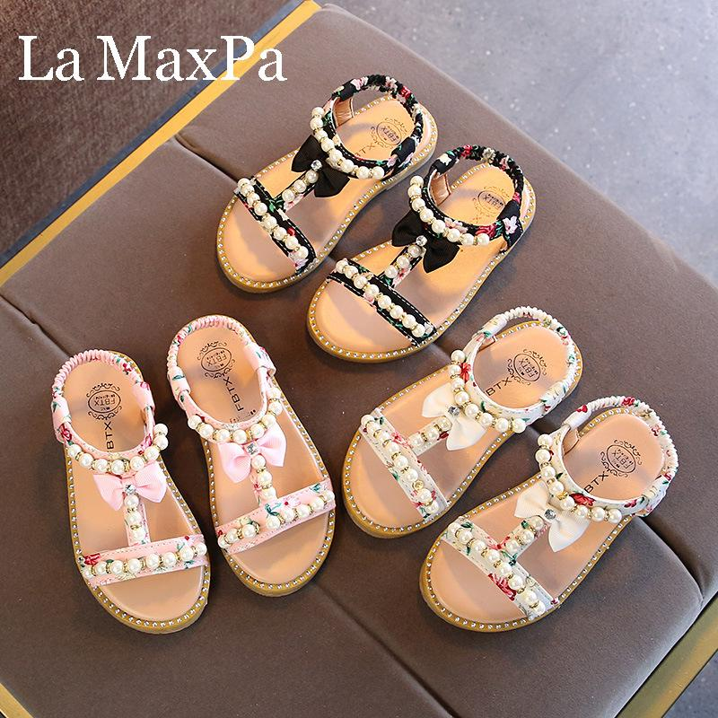 2020 Summer Baby Girls Sandals Toddler Infant Kids Slip On Pearl Crystal Single Princess Sandals for Children Girls Size 21-30