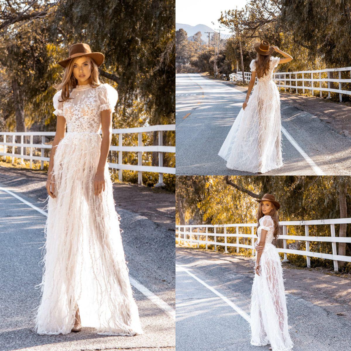Crystal Design 2019 A Line Wedding Dresses Jewel Neck Feather Lace Appliqued Boho Wedding Dress Short Sleeves Plus Size Garden Bridal Gowns