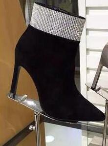 Heißer Verkauf- Frauen LuxuxRhinestone Stiefeletten Kristall-Absatz Booties Glanz Party Schuhe Stilettos Gladiator Botas Femmes