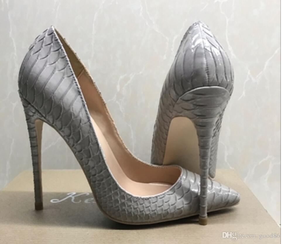 New Sexy Serpentina Cinza Dica Sapatos de Salto Alto-boca Rasa Único-de Salto Alto Sapatos de Salto Alto das mulheres sapatos de vestido 12 cm 10 cm 8 cm tamanho grande 44