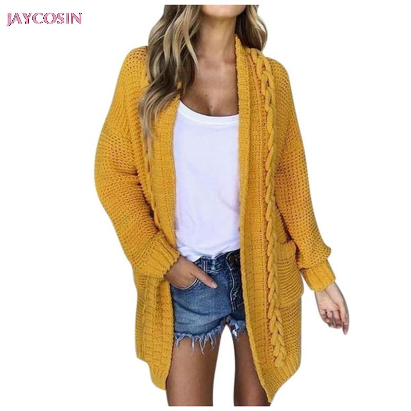Malhas das mulheres Tees Jaycosin 2021 Camisola Mulheres Casual Manga Longa Amarelo Casaco Cardigan Sólido Com Bolsos Manteau Femelle Drop # 1214