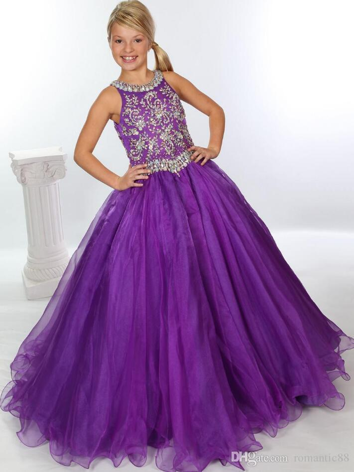 Beaded Crystals Purple Organza Girls Pageant Dresses 2020 Rhinestones Ball Gown Flower Girls Dresses Little Kids Birthday Formal Party Gowns