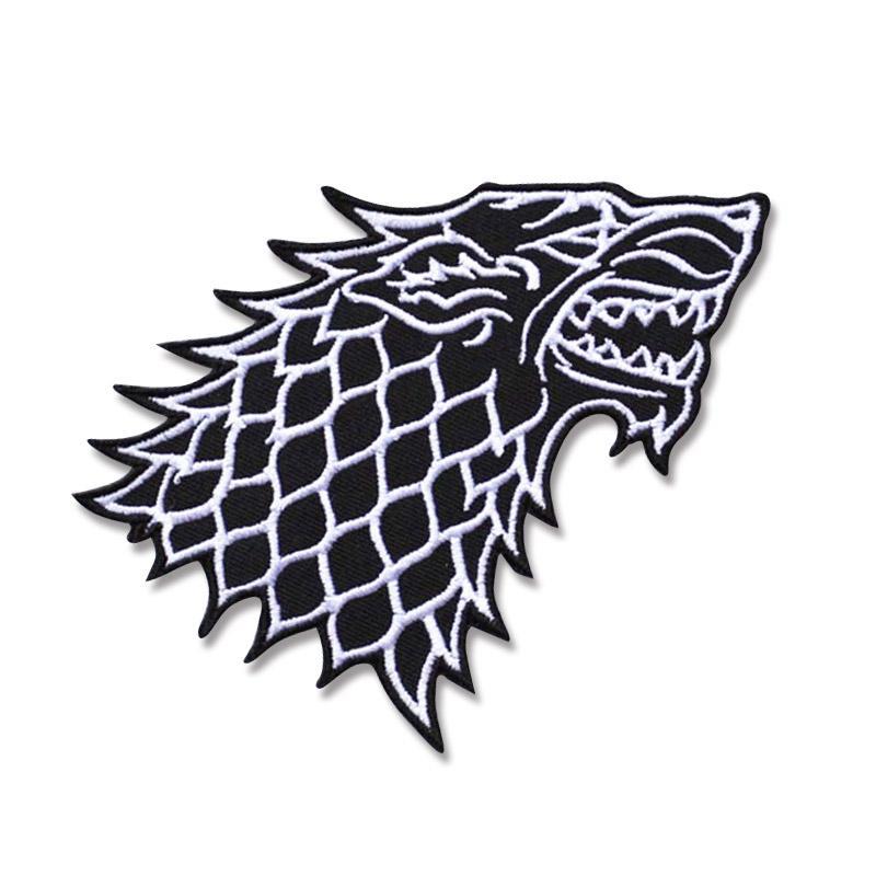 늑대 헤드 로고 의류 DIY의 의류 배지 스티커 의류 아플리케 도매 자수 철에 패치