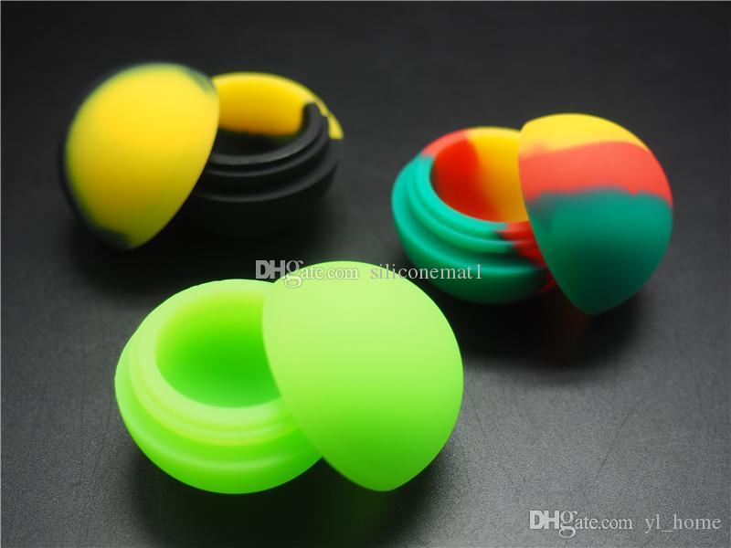 3pcs / lot 5.6ml mini forma di palla contenitore di silicone di colore assortiti per Dabs forma rotonda contenitori di silicone cera vasetti di silicone Dab contenitori