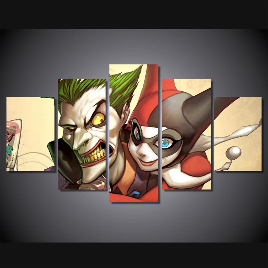 Joker Harley Quinn Escadrons de la mort dc, 5 pièces HD sur toile, impression de maison neuve, décoration d'art, peinture / sans cadre / avec cadre