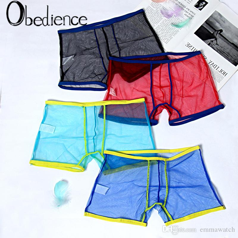2019 nouveaux shorts fluorescents Flash cool maille fils sous-vêtements sexy sous-vêtements transparents