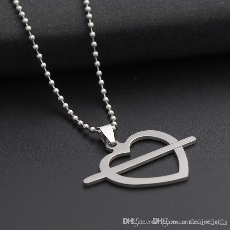 10pcs stainless steel love at first sight symbol love heart arrow necklace heart shape love cupid arrow hollow heart shaped charm necklace
