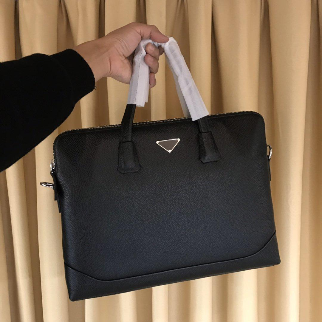 maletines alta calidad del bolso de cuero de lujo de gran capacidad compartimentos doubble de los hombres de los hombres del diseñador del bolso de hombro del bolso del negocio Negro