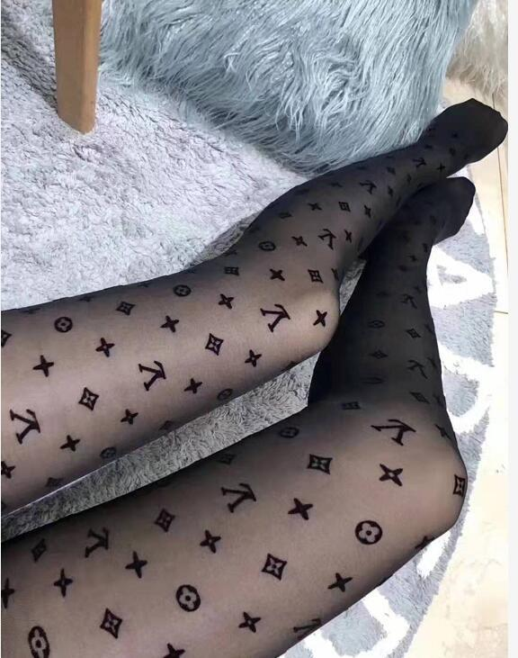 black Lace Hollow Out Pantyhose Sexy Mesh tights hosierys L European And American Letter Long Leggings Socks