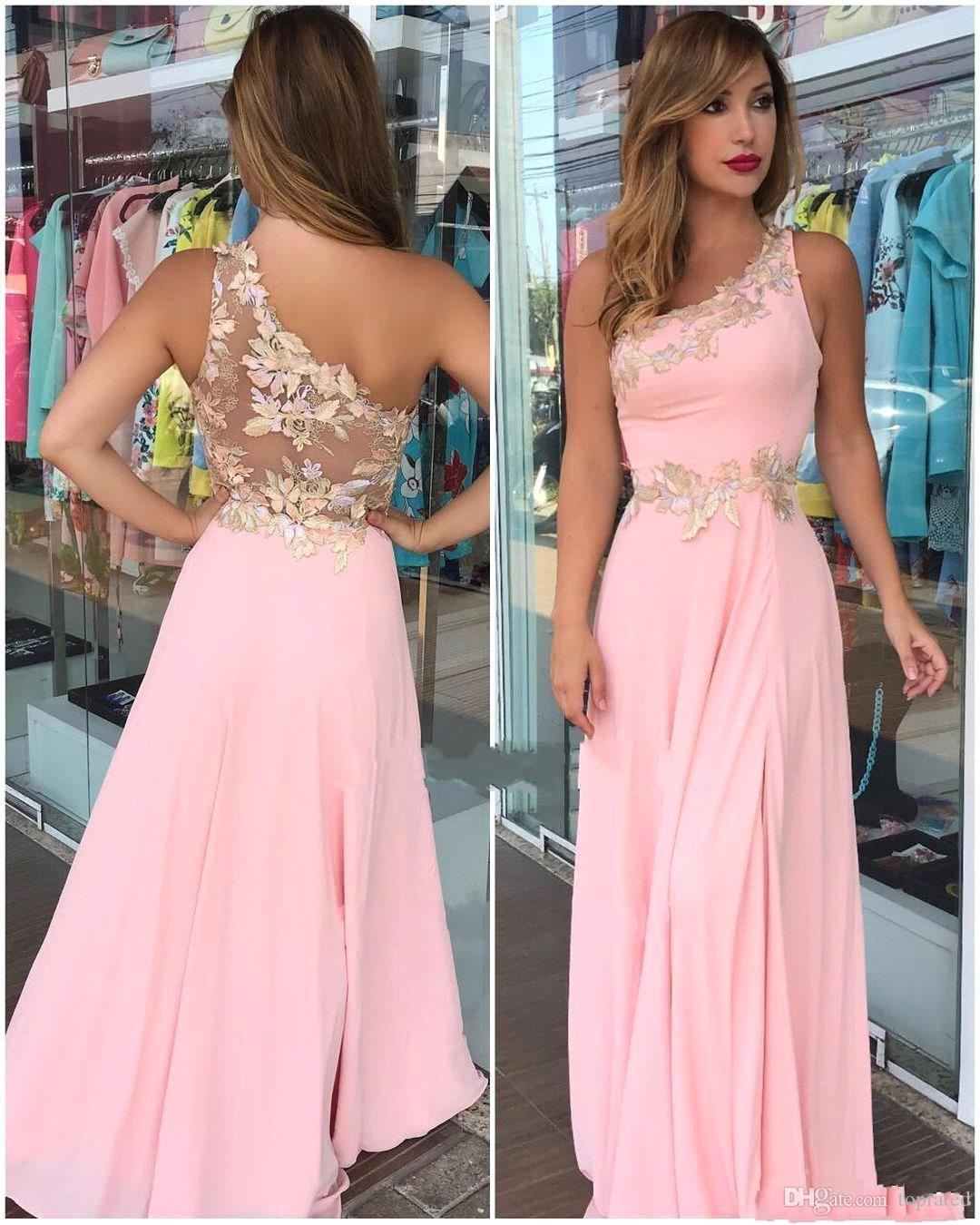 2019 Pink Flower Bridesmaid Dresses A Line Cheap One Shoulder Plus Size  Formal Maid Of Honor Gowns For African Black Girls Gold Bridesmaid Dress  High ...