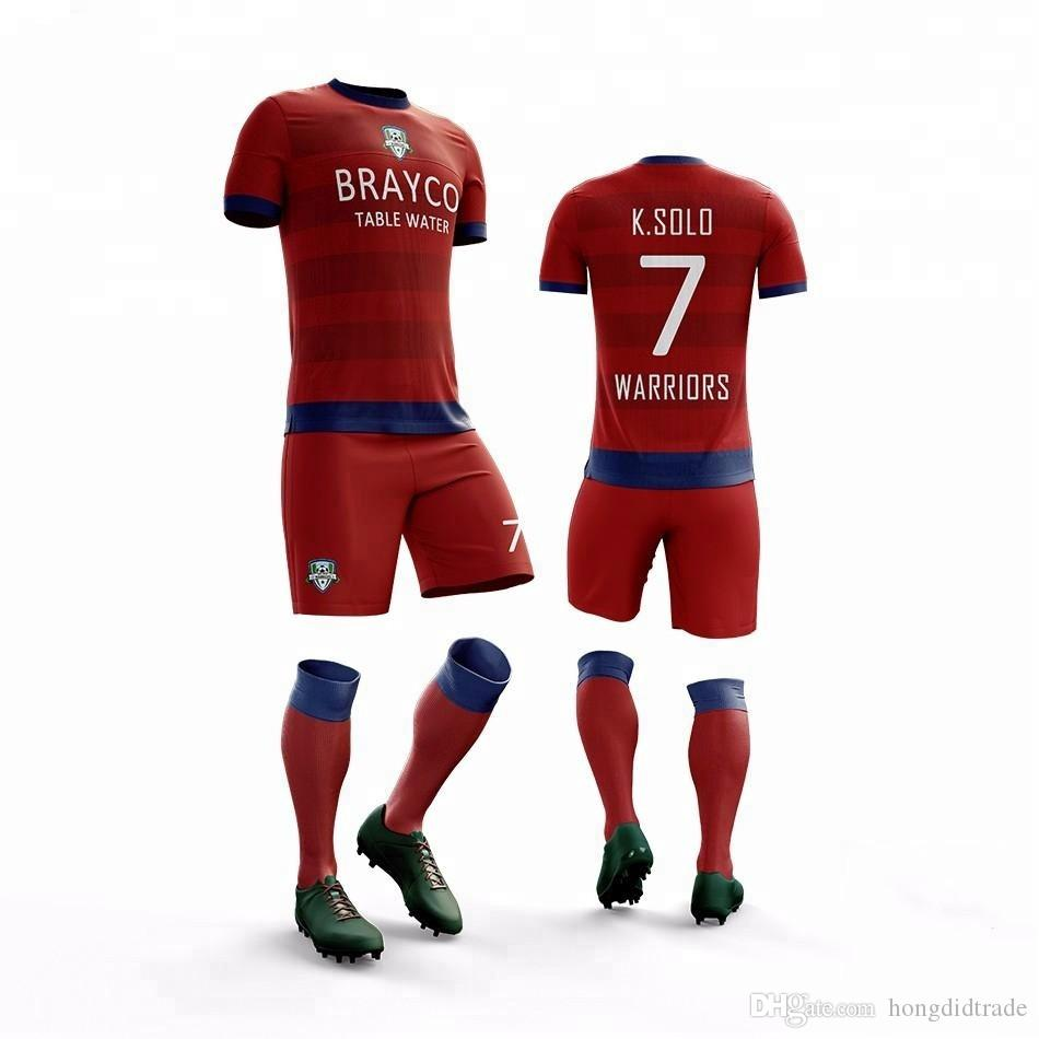 2019 فريق كرة القدم الموحدة مخصص لكرة القدم فريدة من نوعها جعل التصميم الخاص بك لكرة القدم جيرسي أطفال كرة القدم جيرسي