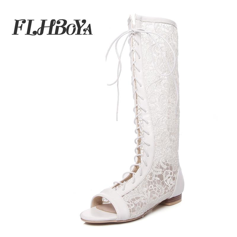 Summer Womens Slim Mid-Calf Sexy Lace-up Long Rome Boots Shoes Female White Cross-tired Hollow Open Toe Ladies Flat with Sandals