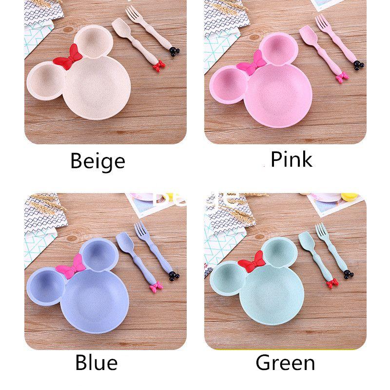 3 шт./компл. детское питание хранения посуда ковылять твердые милый мультфильм блюда дети тарелка чаша ЭКО - дети обучение посуда
