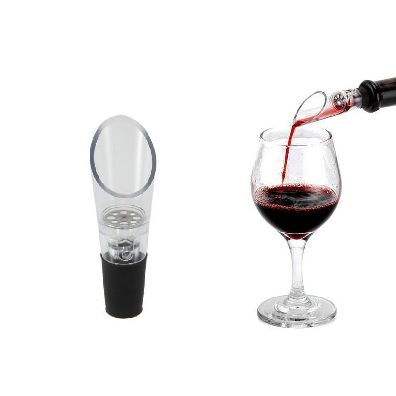 El plástico rojo vino aireadores Pour vino que decanta el filtro de aireación de Pourer aireador útiles herramientas de la barra con el opp empaqueta el envío libre