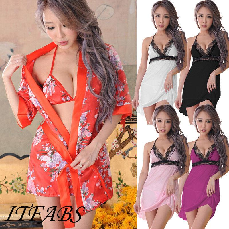 Sexy Lingerie Mulheres Silk Lace Robe vestido Babydoll Nightdress Nightgown Sólidos Underwear Pijamas Erótico Nigjhtwear 2019 Novo