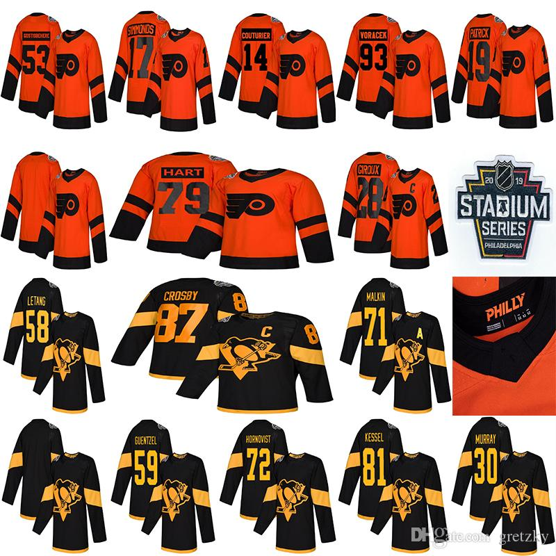 2019 Stadyum Serisi Pittsburgh Penguins Philadelphia Flyers Forması 87 Sidney Crosby 71 Malkin 58 Letang 28 Giroux 79 Hart hokey formaları
