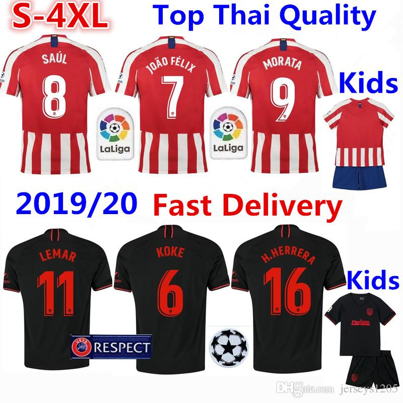 Atletico Madrid Tshirt Soccer Jersey 2019/20 JOÃO FÉLIX Home Football Shirt KOKE SAÚL Adult Kids Kit MORATA Shirts Camiseta Maillot S-4XL