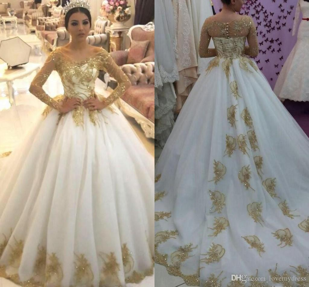 Unique Bling Gold Applique Lace Ball Gown Wedding Dresses Sweetheart Poet Long Sleeve Draped Ball Gowns Bridal Dress Plus Size South African Greek Style Wedding Dresses Jasmine Wedding Dresses From Lovemydress 99 57