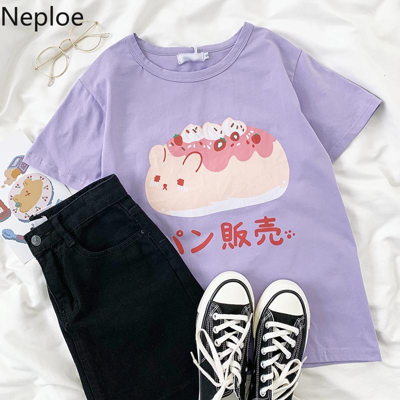 Neploe Japon Tatlı Kadın T-şortlar Karikatür Baskılı Nedensel En Tees 2020 Yaz Kısa Kollu O yaka t Gömlek Femme 4B792