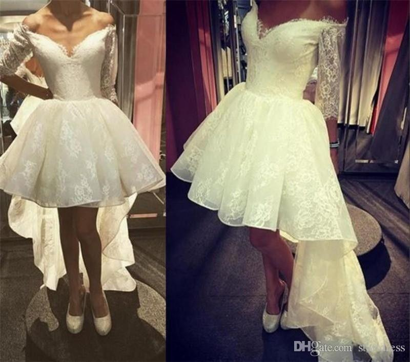 New A Line High Low Wedding Dresses Sexy Off The Shoulder Lace Short Wedding Dresses Modest Wedding Dresses With Sleeves CG01