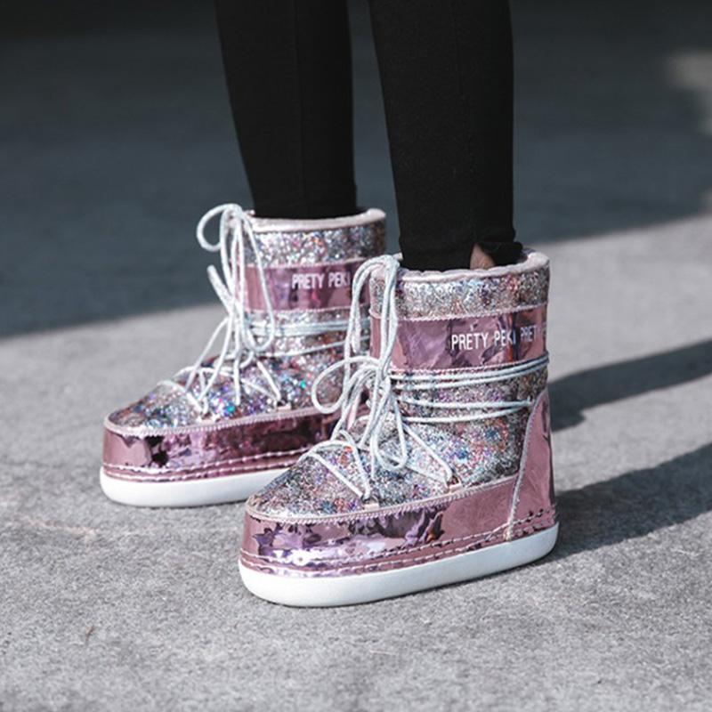 Hot Sale-rosa scintillio di Bling donne Snow Boots paillettes pelliccia calda All'interno donne stivaletti Casual scarpe da donna Space Plus Velevt Shoes