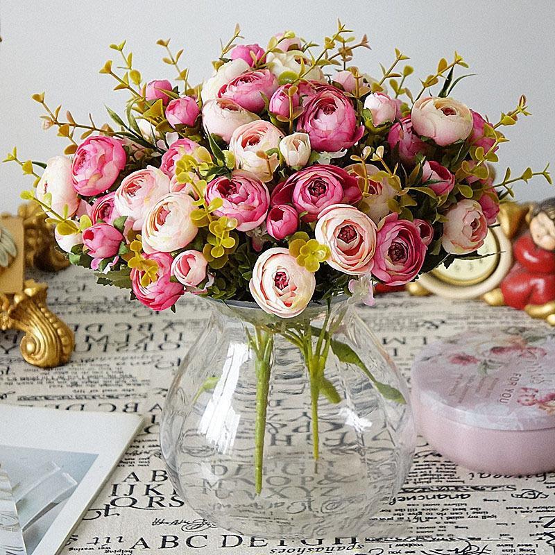 Artificial Rose Silk Flowers 6 Flower Head Floral Fake Wedding  Vintage New