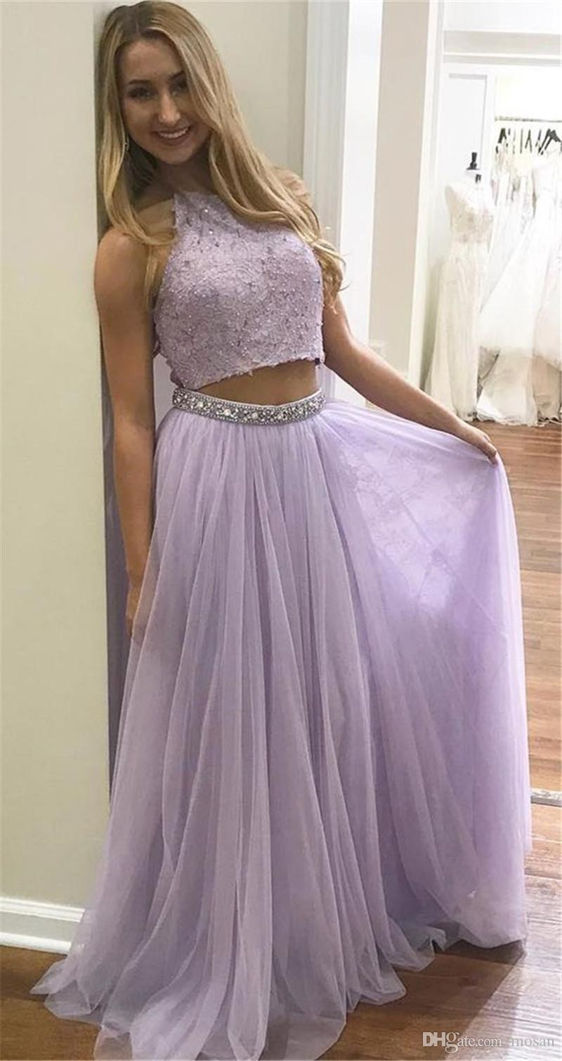 Violet Two Piece Evening Dresses Sexy Backless Long Party Evening Gown Top Lace Beaded Junior Graduation Prom Dress Drops Waist