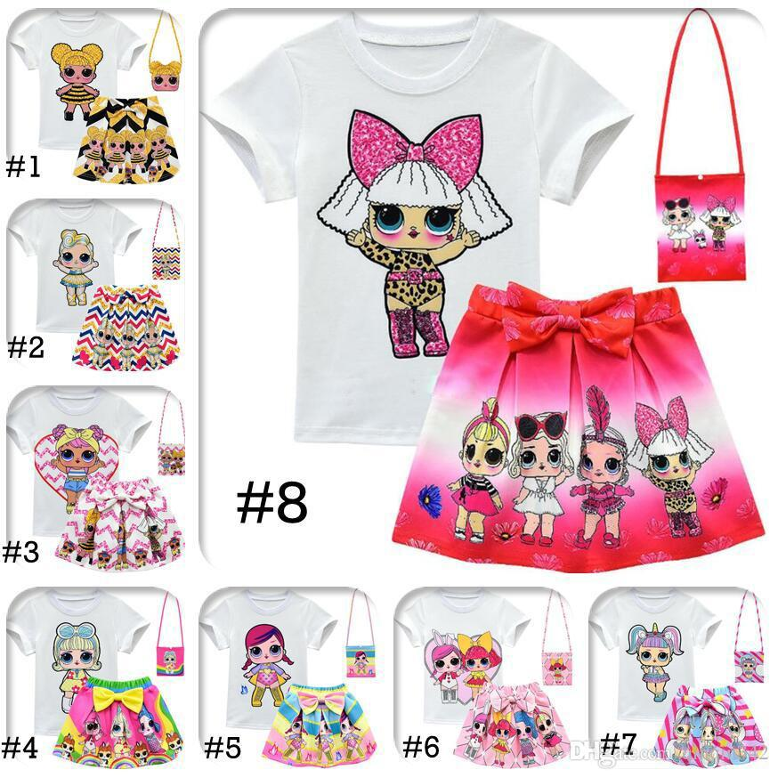DHL Girls Suits 10 Style 3-10Y Kids Outfits 3pcs/set tshirt+skirt+bag Surprise Girls Skirt Tee Suit INS Baby Summer Clothing Set