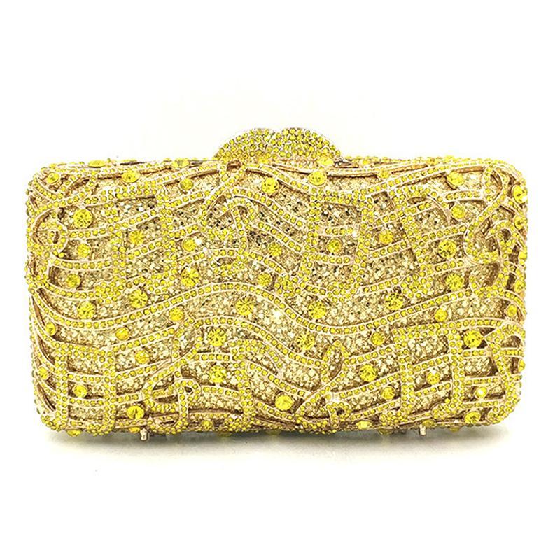 Évider femmes argent rouge Sacs de soirée jaune cristal sac à main d'embrayage de mariage et sac à main Party Sac dîner nuptiale