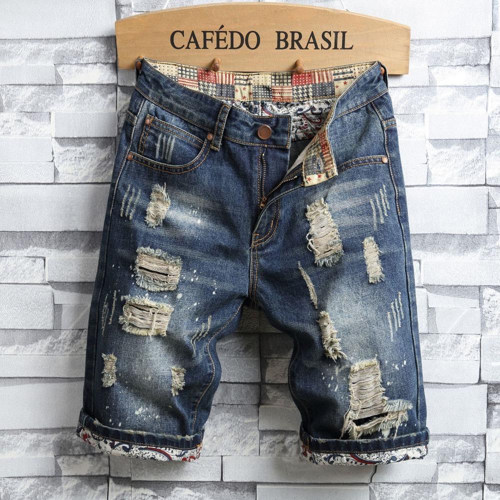 Sommer-Art-Männer Jeans Shorts Luxus Männer dünne Denim-Shorts Reißverschluss Gerade Moto Biker Jeans für blaue und schwarze Loch