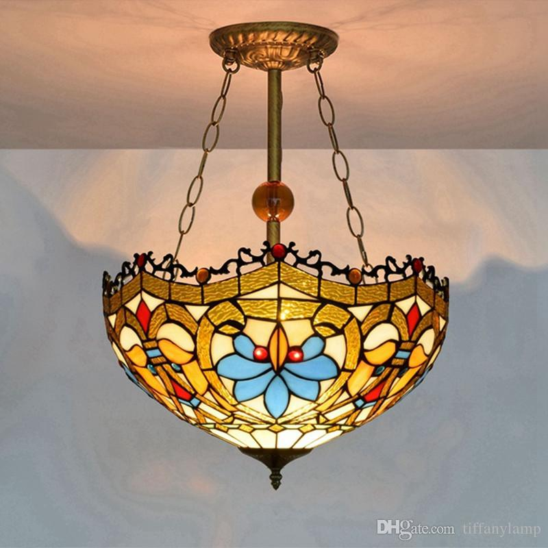 16 Inch Tiffany Pendant Lamps Stained Glass LED Suspension Lighting Fixture American HangLamp Living Room Bar Decor Vintage Tiffany Light