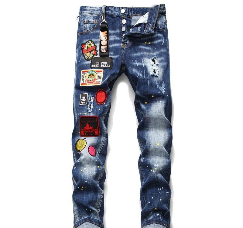 Stylish Men Jeans Pants Long trousers Fashion 3D Painting Zipper Fly Jeans 29-38