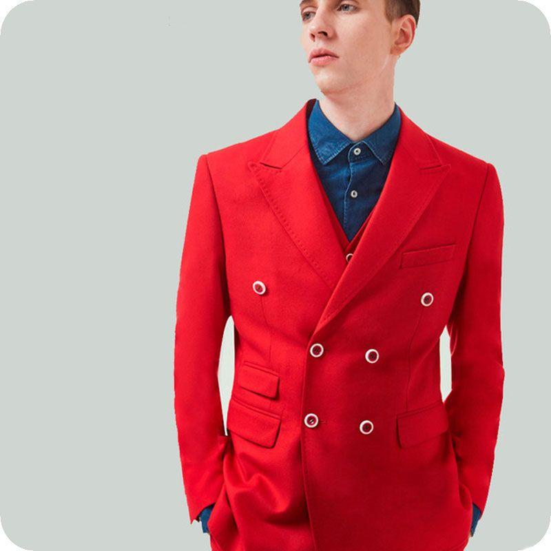 Kırmızı Adam İş Blazer Damat Smokin Erkekler Düğün için Suits Kruvaze Balo Ceket Pantolon 2 Adet Kostüm Homme Terno Masculino