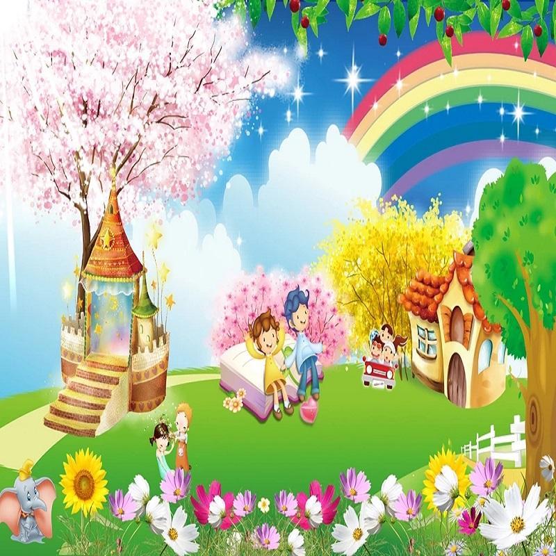 Costume grande mural 3D papel de parede de animais dos desenhos animados bonito do arco-íris da flor do menino quarto menina mural de TV volta a decoração da parede profunda 5D em relevo