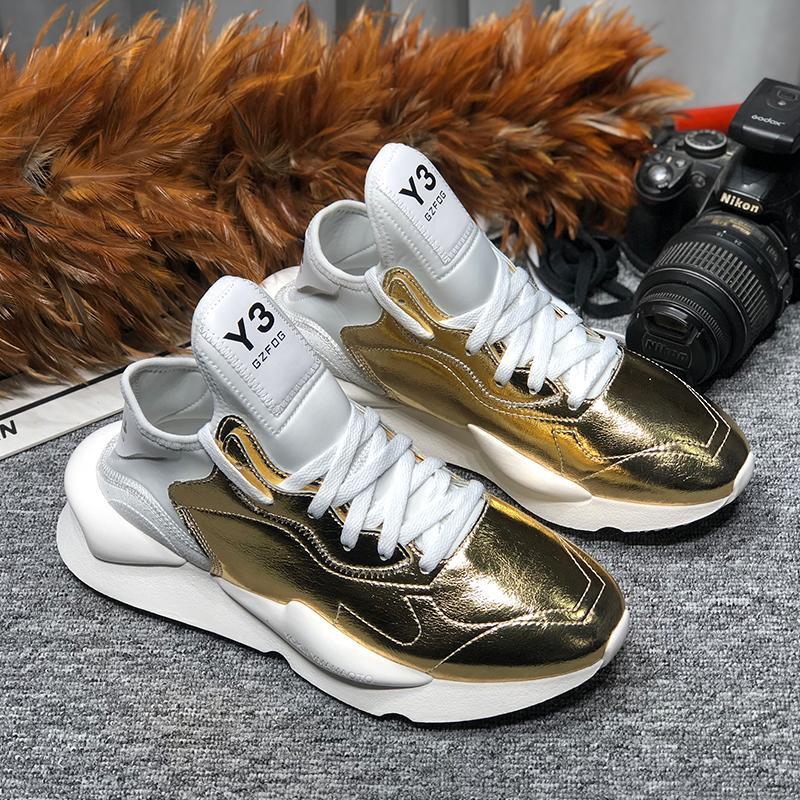 Frauen Y3 Breathable beiläufige Schuh Female Fashion Leder-Turnschuh-Lace Up Freizeit-Frauen-Schuh-Plattform 10 # 22 / 20D50