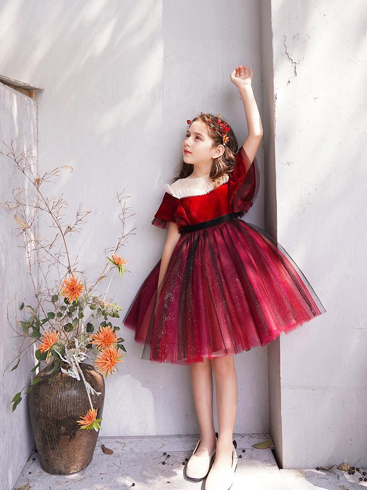 Robe Robe Vêtements pour enfants formelles de détail dentelle robes fille fleur simple Designs Big Girls Party robes de demoiselle d'