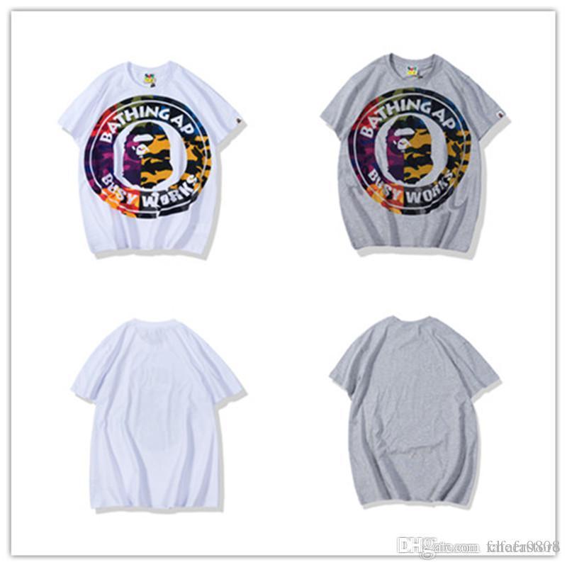 2019 de la moda para hombre mejor calidad 19BAPE Un baño nuevo 19 MONO Camiseta básica del camuflaje Jefe camiseta de algodón de cuello redondo Tops TEE